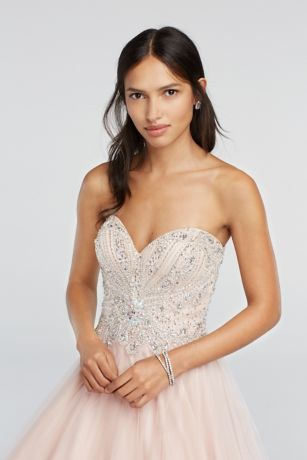 Crystal Beaded Strapless Sweetheart Prom Dress   David's Bridal