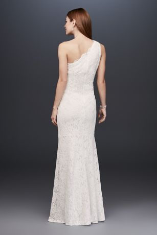 Scalloped One-Shoulder Glitter Lace Sheath Gown | David\'s Bridal