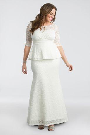Poised peplum plus size wedding gown davids bridal save junglespirit Choice Image