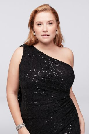 One-Shoulder Sequin Lace Plus Size Dress | David's Bridal