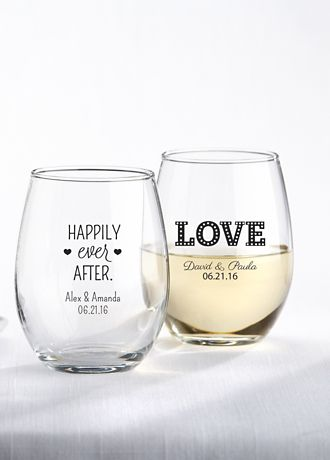 Personalized Stemless Wine Glass | David\'s Bridal