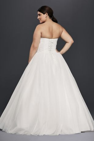 Plus Size Strapless Tulle Ball Gown Wedding Dress   David's Bridal