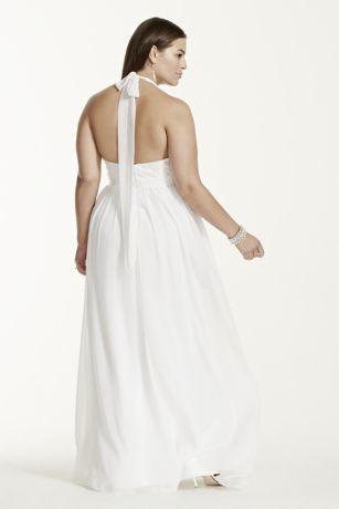 Chiffon A-line with Lace Plus Size Halter Top | David\'s Bridal