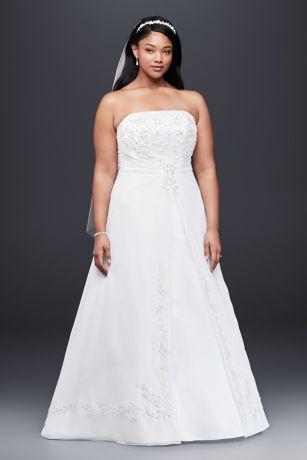 ALine Plus Size Wedding Dress with Cap Sleeves Davids Bridal