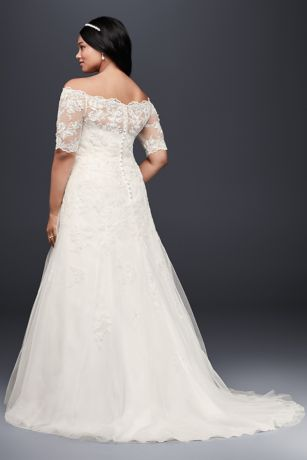 jewel 3/4 sleeve plus size wedding dress | david's bridal