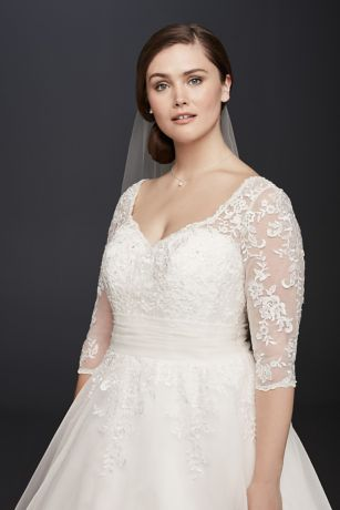 Tulle Plus Size Tea-Length Wedding Dress | David\'s Bridal