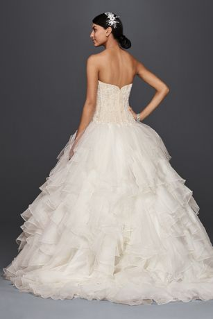 Oleg Cassini Strapless Ruffled Skirt Wedding Dress | David's Bridal