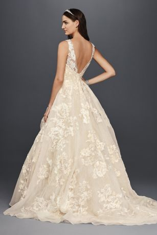 Oleg cassini high neck tank lace wedding dress davids bridal save junglespirit Image collections