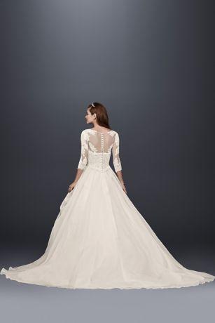 Oleg cassini organza 34 sleeved wedding dress davids bridal mouse over to zoom junglespirit Gallery