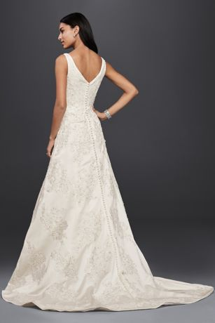 Oleg Cassini V Neck Lace A Line Wedding Dress