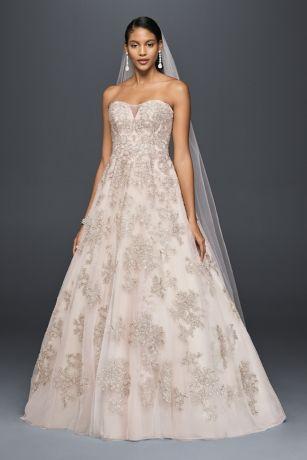 Blush ALine Wedding Dress Davids Bridal