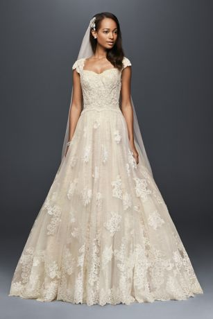 Cap sleeve lace wedding ball gown with beading davids bridal save junglespirit Image collections
