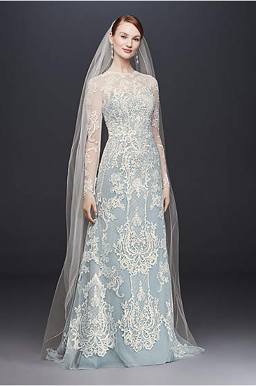 Oleg Cassini Illusion Lace Long-Sleeve Sheath Wedding Dress