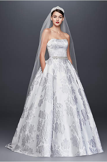 Oleg Cassini Floral Brocade Ball Gown Wedding Dress