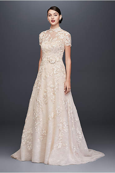 Oleg Cassini Lace Appliqued A-Line Wedding Dress and Topper