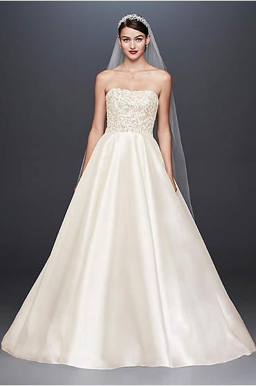 Oleg Cassini GCrystal Encrusted Mikado Ball Gown Wedding Dress