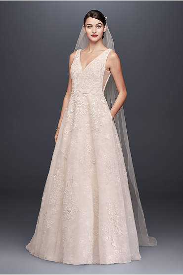Oleg Cassini Appliqued Tulle-Over-Lace A-Line Wedding Dress