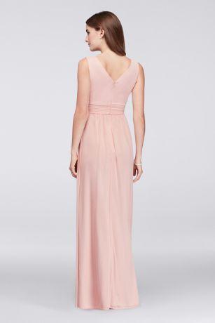 beaded inset pleated mesh long bridesmaid dress | david's bridal