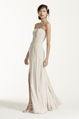 Long Strapless Crepe Dress with Brooch | David's Bridal
