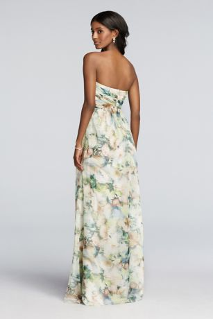 Long Chiffon Printed Dress Pleated Detail | David's Bridal