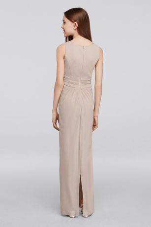 Long Junior Bridesmaid Dress with Beaded Neckline | David's Bridal