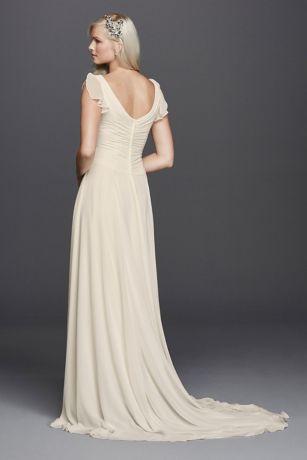 V neck flutter sleeve embellished wedding dress davids bridal save junglespirit Images