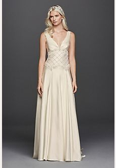 Satin V-Neck Wedding Dress with Lattice Bodice