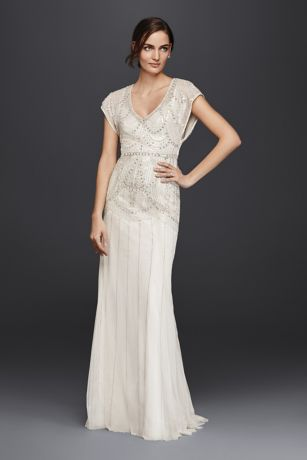 Beaded sheath wedding dress with blouson bodice davids bridal mouse over to zoom junglespirit Gallery