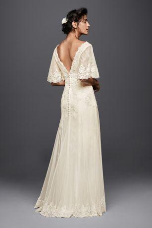 Melissa Sweet Wedding Dress With Flutter Sleeves Davids Bridal - Flutter Sleeve Wedding Dress