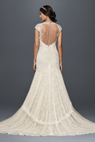 Tiered Lace Mermaid Wedding Dress with Beading Davids Bridal