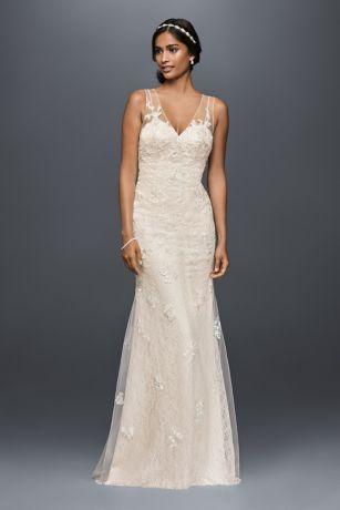 Appliqued tulle sheath wedding dress davids bridal long sheath vintage wedding dress melissa sweet save junglespirit Gallery