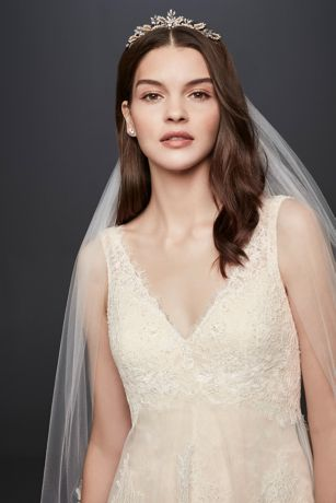 Banded Eyelash Lace Layered Wedding Dress | David\'s Bridal