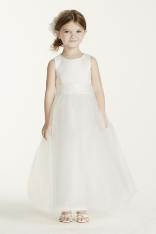 Satin Flower Girl Dress with Tulle Skirt | David's Bridal
