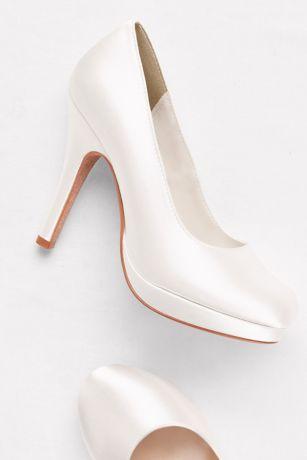 Dyeable Satin Round-Toe Platform Heels | David's Bridal