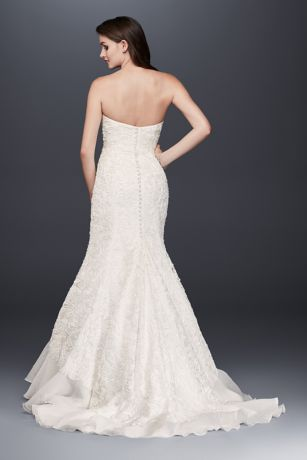 Lace Overlay Charmeuse Wedding Dress with Train | David\'s Bridal
