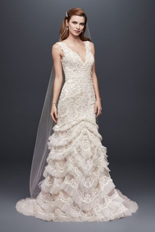 Beaded lace wedding dress with plunging neckline davids bridal mouse over to zoom junglespirit Image collections