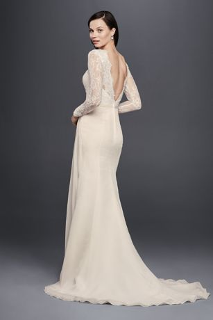 Chiffon Wedding Dress with Low V-Neck and Back | David's Bridal