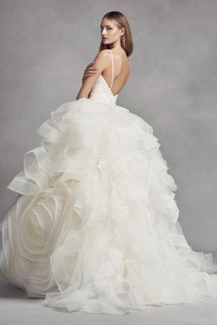 White By Vera Wang Organza Rosette Wedding Dress Davids Bridal - Rosette Wedding Dress