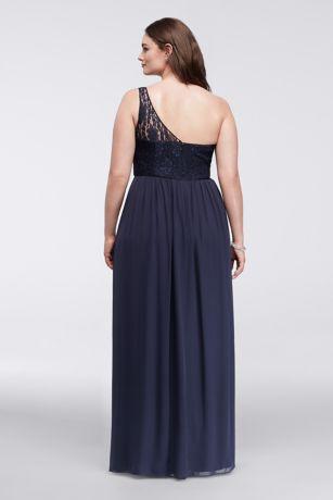 Lace Chiffon Plus Size Dress with Illusion Bodice | David\'s Bridal