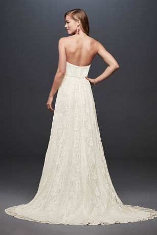 Galina strapless linear lace sheath wedding dress davids bridal long sheath beach wedding dress galina save junglespirit Images