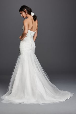 Strapless Ruched Mermaid Tulle Wedding Dress Davids Bridal