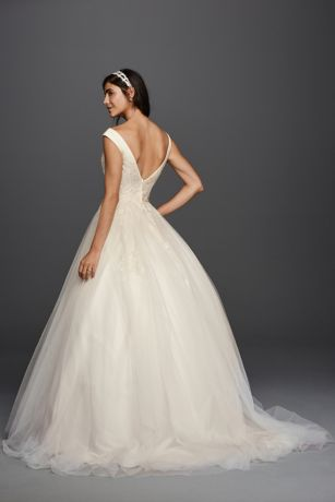 Jewel Tank Tulle Wedding Dress with Lace Applique Davids Bridal