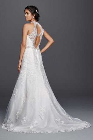 Petite lace wedding dress with halter neckline davids bridal mouse over to zoom junglespirit Choice Image