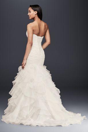 Organza mermaid wedding dress with lace up back davids bridal save junglespirit Images