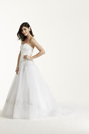 Satin Beaded Bodice Wedding Dress With Tulle Skirt