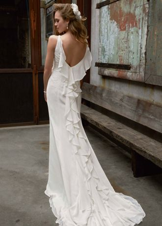 Chiffon Wedding Gown with Ruffle Detail and Lace | David's Bridal