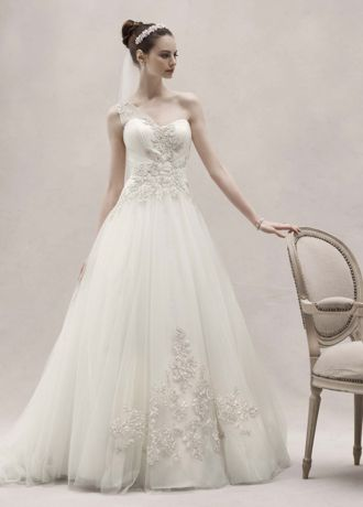 One Shoulder Tulle Ball Gown with Lace Appliques Davids Bridal