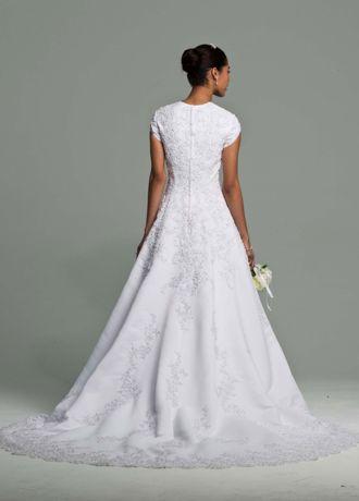 Short Sleeve Satin Wedding Dress Beaded Lace Davids Bridal