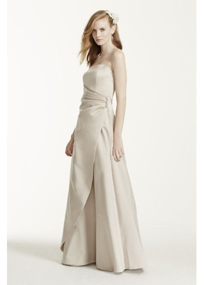 Extra Length Satin Gown with Side Drape & Brooch 4XL8567