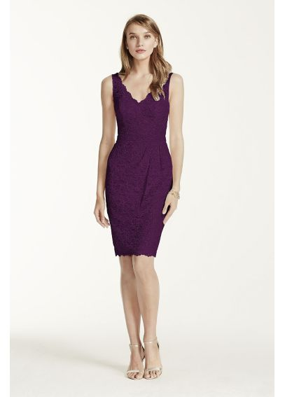 Extra Length Short Tank Lace Dress with V Neckline 2XLF15952